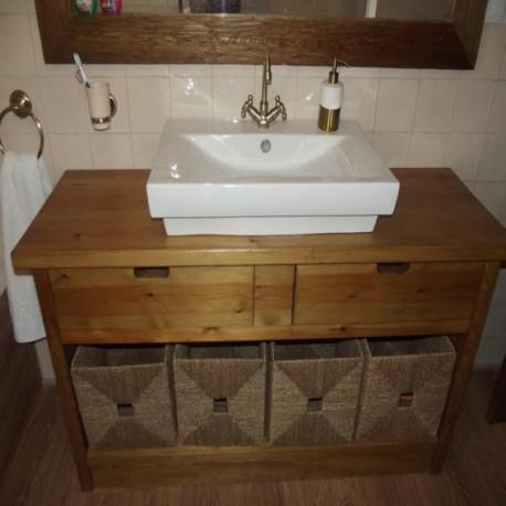 Mueble lavabo en madera de pino